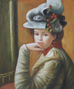 Young Girl in a White Hat III by Pierre Auguste Renoir