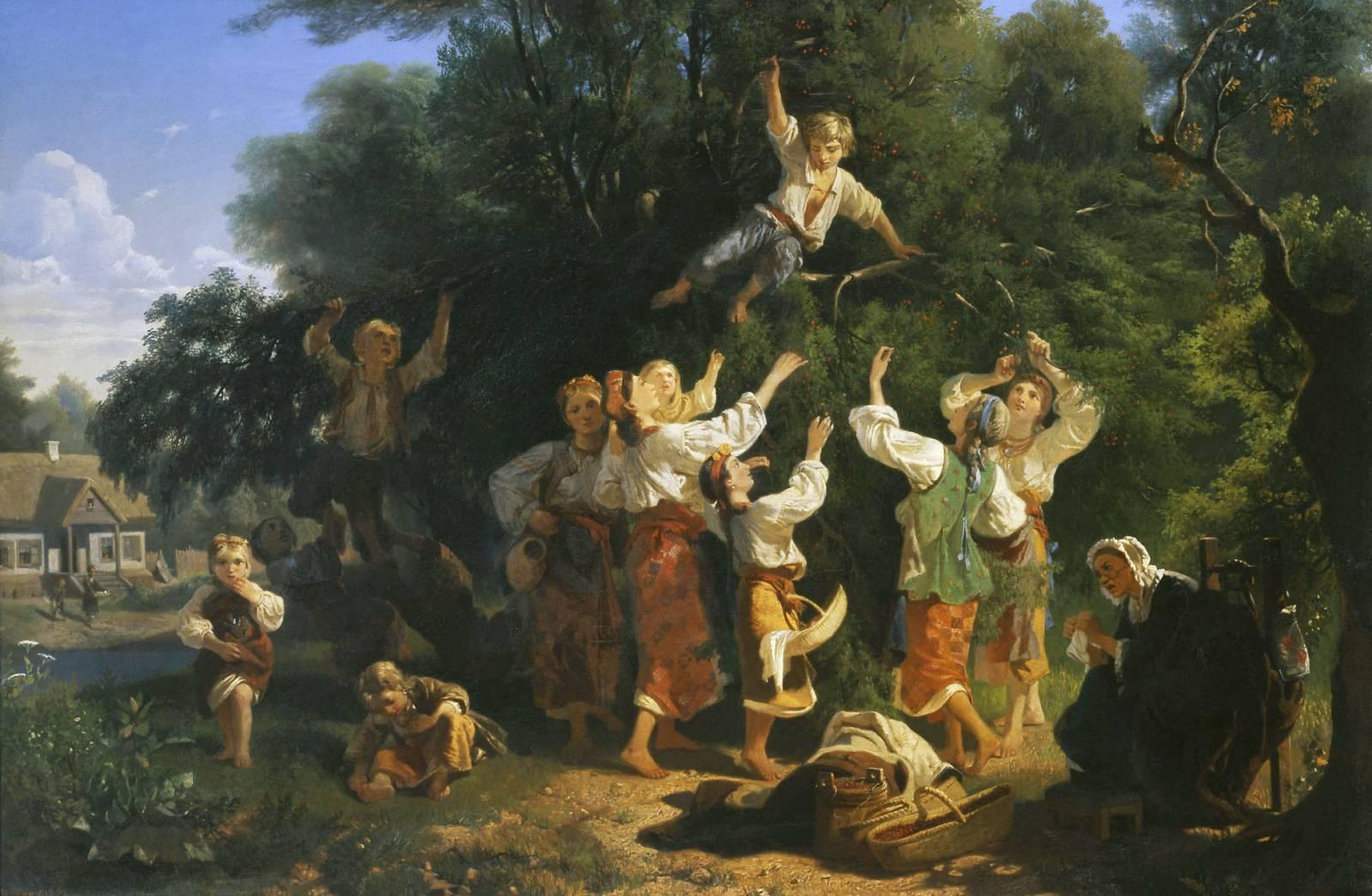 """Иван Соколов """"Сбор вишни в помещичьем саду на Украине"""",  1858"""