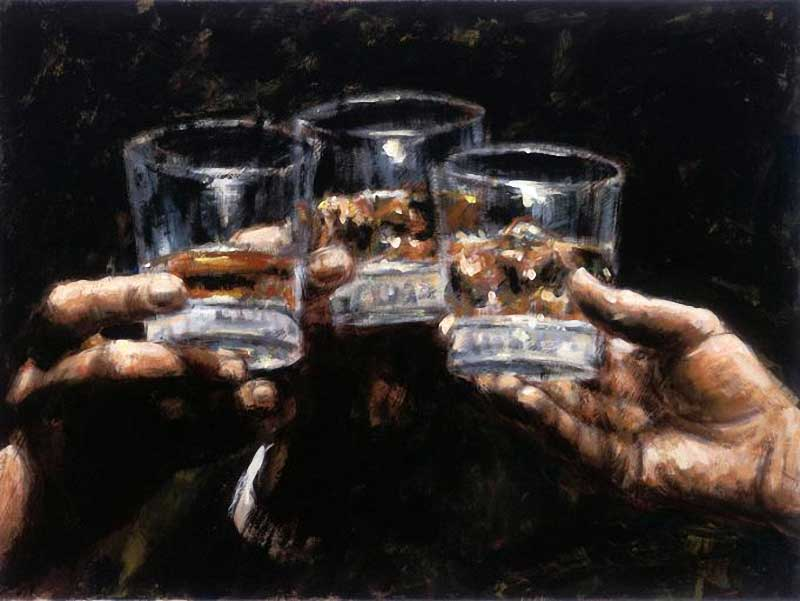 Fabian Perez Study for Whiskey Painting