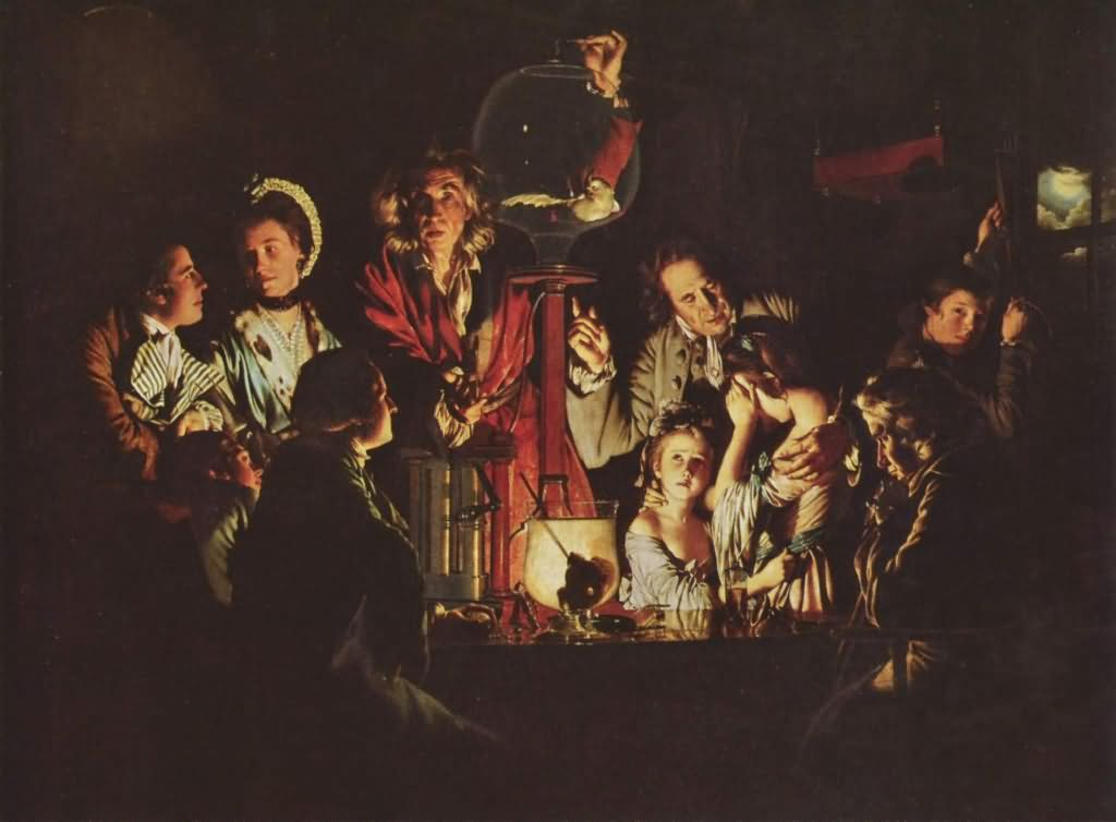 "Joseph Wright ""An Experiment On A Bird In The Air"" - ""Эксперимент на птице в воздушном насосе"""