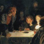 "Репин Илья Ефимович ""Сходка (При свете лампы)"" 1883"