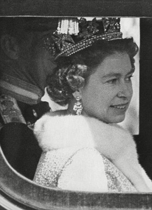 Queen Elizabeth II with Prince Philip in coach for State Opening