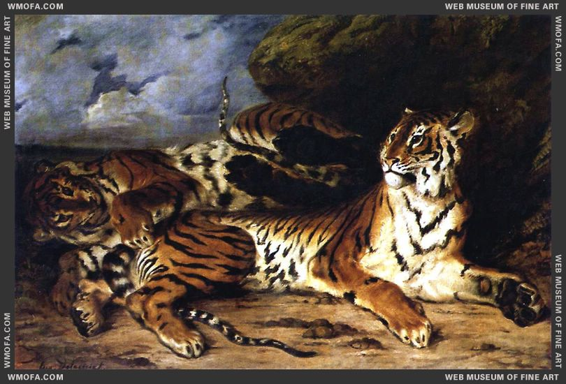 Eugene Delacroix A_Young_Tiger_Playing_with_its_Mother_1830