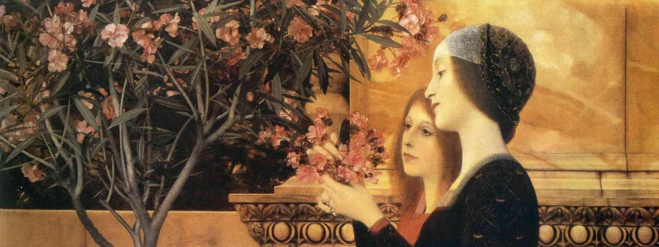 Gustav Klimt Two Girls with Oleander Painting.